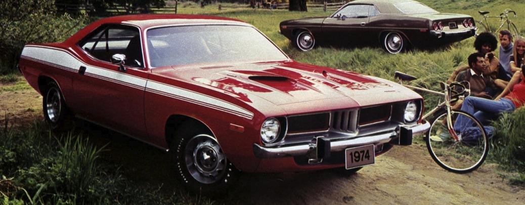 Foto: Cuda en primer plano y Barracuda en segundo. Recorte de publicidad de 1974