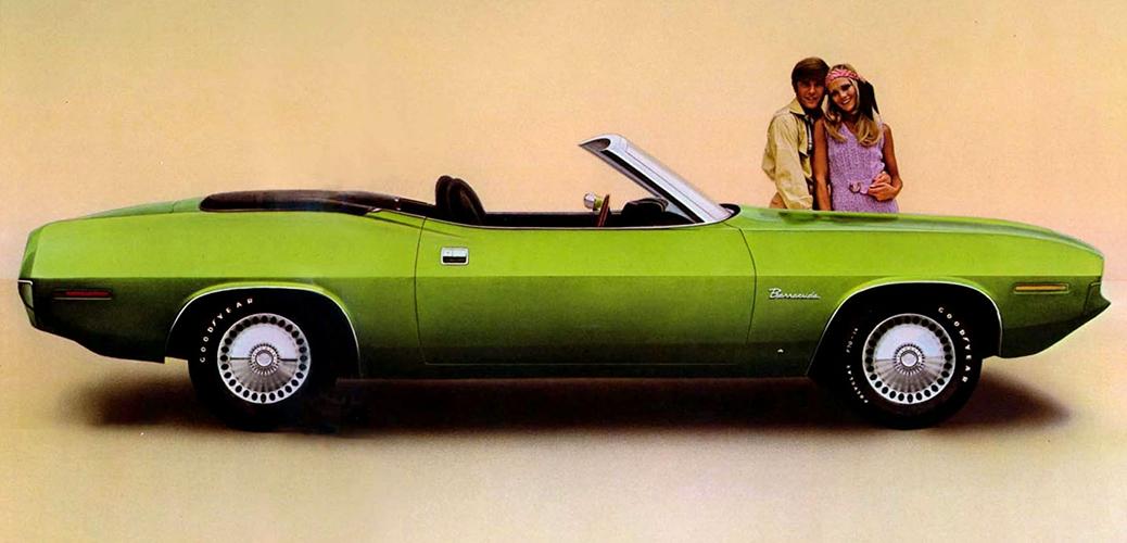 Plymouth Barracuda Serie 3. Foto: Descapotable. Recorte de publicidad de 1970