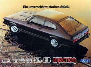 Ford Capri Mk3 2.8 Injection. Foto:Publicidad Alemana de época