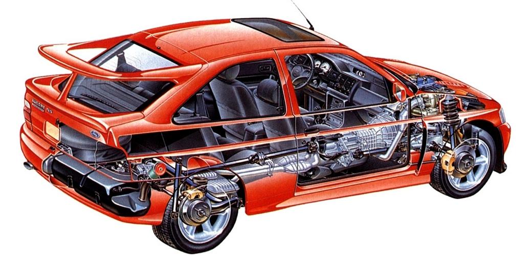 Las entrñas del Escort RS Cosworth, Foto: Ford Motor Company