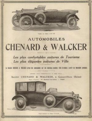 Los coches de Turismo más cómodos. Los más elegantes coches de ciudad. Chenard / Walcker