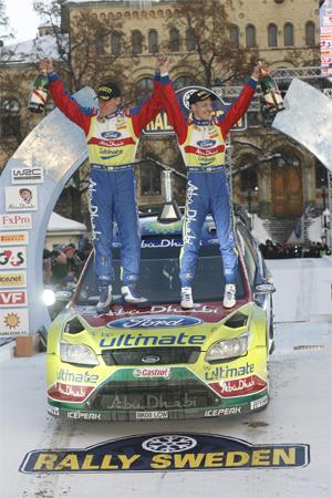 Ford Focus RS WRC 09, Victoria de Hirvonen y Lehtinen, Rally de Suecia 2010