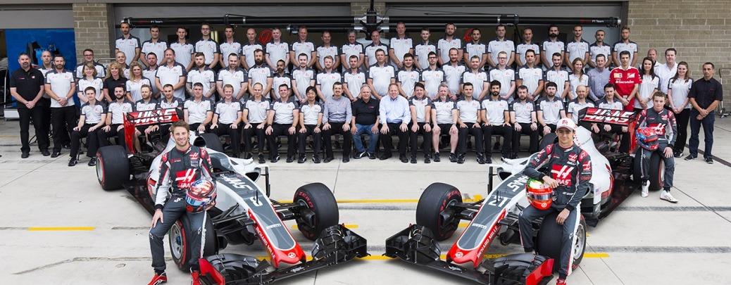 El equipo al completo posa en su primer Gran Premio en casa, durante el Gran PRemio de Estados Unidos en Austin. Foto: Haas F1 Team