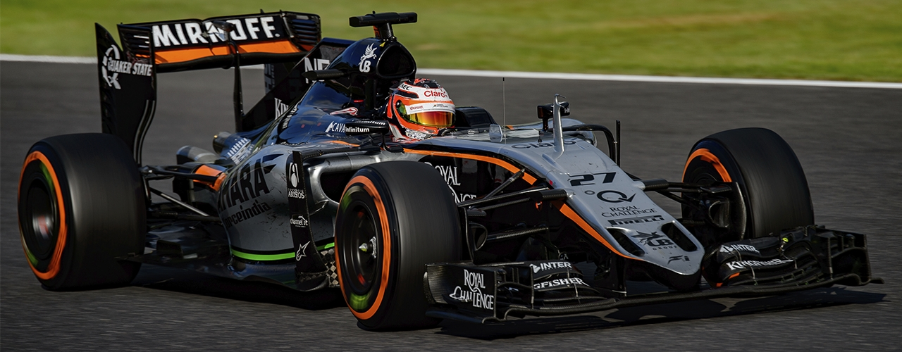 Force India-Mercedes VMJ08, Hülkenberg en el Gran Premio de Japón de 2015, Keisuke Kariya / CC 2.0