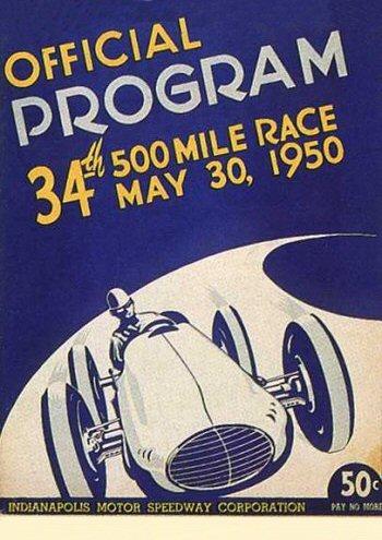 Portada programa 500 millas de Indianápolis de1950